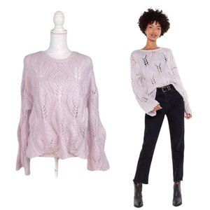 Nasty Gal Lilac Crochet Bell Sleeve Knit Sweater